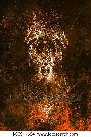Dibujos Hombre En Místico Fuego Y Ornamental Dragones Lápiz