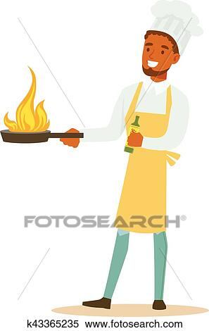 Clipart Of Man Professional Cooking Chef Working In Restaurant