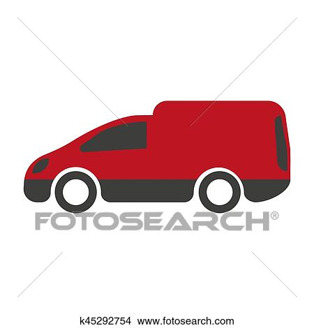1d250f533c Motor van icon in red and black colors isolated on white. Truck vehicle  delivery service. Symbol of minibus. Vector illustration in flat style  design.