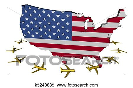 Stock Illustration of planes flying around USA map flag k5248885 ...