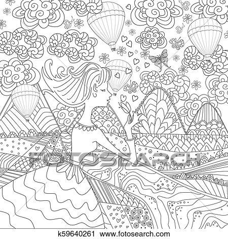 Romantische Mädchen In Phantasie Landschaft Für Dein