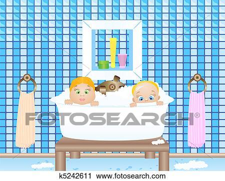 Clipart - zwei, baby, in, badezimmer k5242611 - Suche Clip Art ...