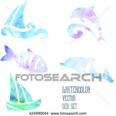 Acquarello Stilizzato Mare Set Su Uno Sfondo Bianco Clipart
