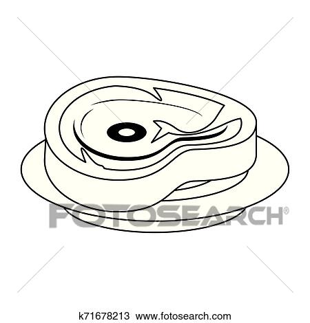 barbecue beef cut of meat food isolated in black and white clipart k71678213 fotosearch fotosearch