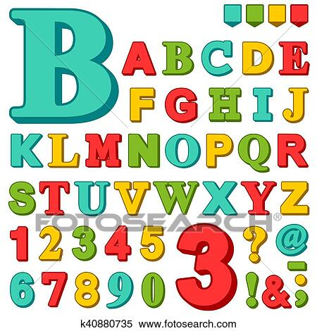Brightly Colored Complete Upper Case Set Of Alphabet Letters And Numbers In Red Green Blue Yellow With Assorted Punctuation Marks Vector Illustration