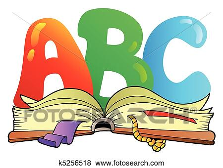 clip art of cartoon abc letters with open book k5256518 search