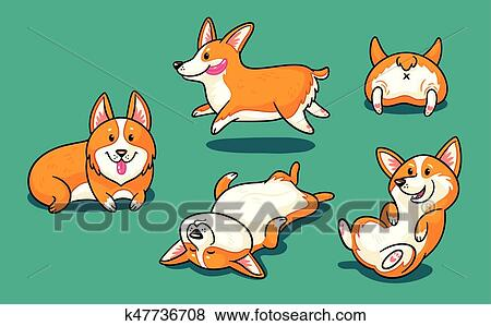 Image of: Pictures Clip Art Collection Of Cute Cartoon Dogs Breed Welsh Corgi Pembroke Fotosearch Search Fotosearch Clip Art Of Collection Of Cute Cartoon Dogs Breed Welsh Corgi