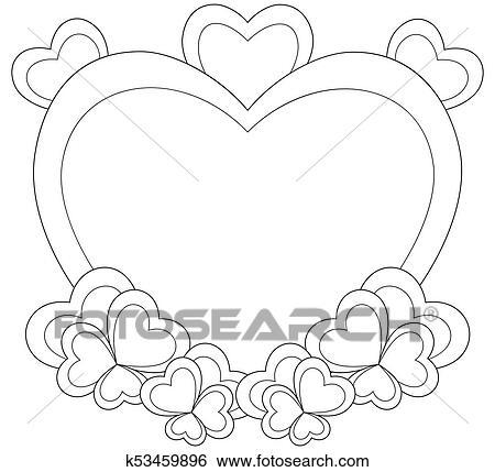 Clip Art - corazón formó, marco, para, valentine, día, card ...