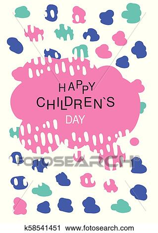 clipart of happy childrens day colorful template for placard