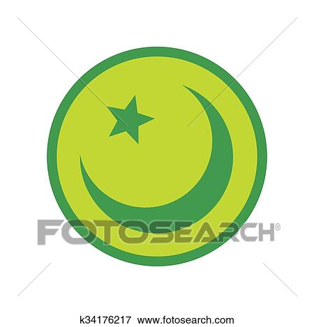 Clip Art Of Islam Symbol Flat Icon K34176217 Search Clipart