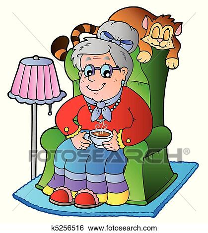 Sessel clipart  Clip Art of Cartoon grandma sitting in armchair k5256516 - Search ...