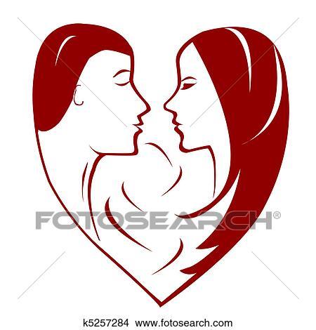Disegni stilizzato cuore con coppia di donna ed for Clipart cuore