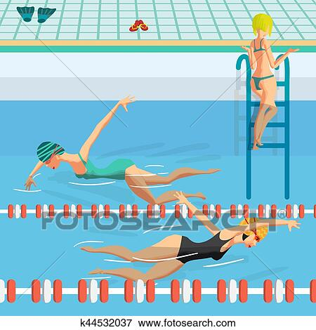 Public Swimming Pool Inside With Blue Water Young Women In Sports Swimsuit Swims In The Pool Front Crawl Style Flat Cartoon Vector Illustration Clip Art K44532037 Fotosearch