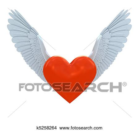 Drawings Of Red Heart Symbol With Wings K5258264 Search Clip Art