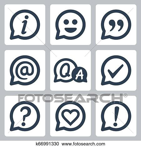 Symbols In Speech Bubbles Vector Icon Set Info Smile