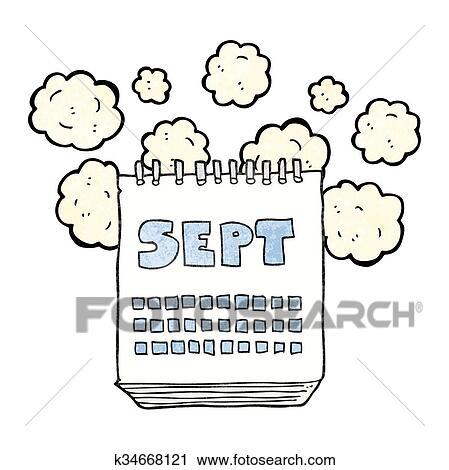 Calendrier Dessin Anime.Textured Dessin Anime Calendrier Projection Mois De Septembre Clipart