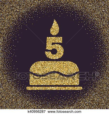 Clip Art Of The Birthday Cake With Candles In The Form Of Number 5