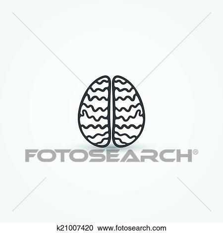Clipart Of Abstract Simple Brain Vector Icon K21007420 Search Clip