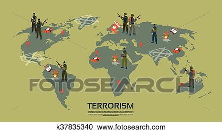 Clipart of armed terrorist group over world map terrorism concept armed terrorist group over world map terrorism concept flat vector illustration gumiabroncs Gallery