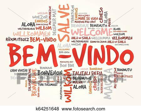 Bem Vindo Welcome In Portuguese Word Cloud Clip Art K64251648 Fotosearch