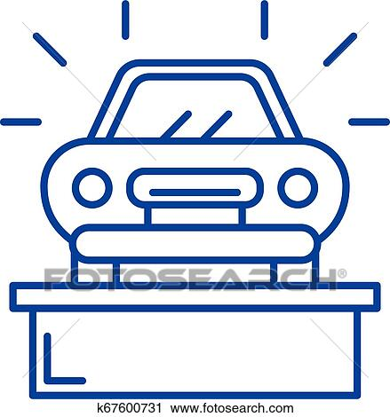 Pleasant Car Showroom Line Icon Concept Car Showroom Flat Vector Symbol Sign Outline Illustration Clipart Download Free Architecture Designs Scobabritishbridgeorg