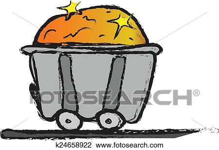 Cartoon Iron Mine Cart With Gold
