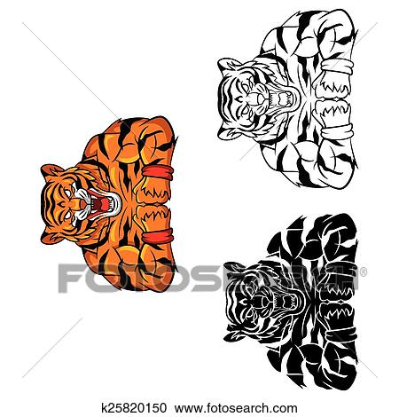 Coloring Book Tiger Strong Caracter Clipart
