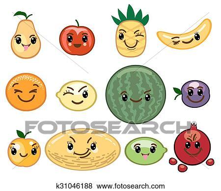 Clip art frutta kawaii caratteri k31046188 cerca for Clipart frutta
