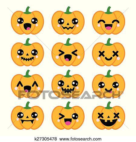 Halloween 2019 Pompoen.Halloween Kawaii Schattig Pompoen Iconen Clipart