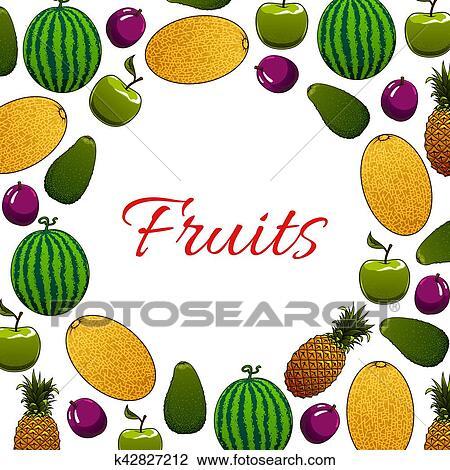 Organica Fruta Cartaz Para Alimento Saudavel Desenho Clipart