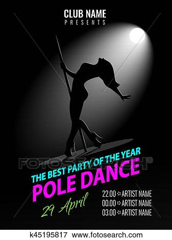 clip art of pole dance party poster template night dance party