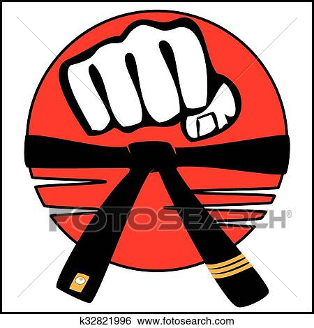 clip art of strong fist belt karate bjj logo k32821996 search rh fotosearch com karate logo png karate logo vector