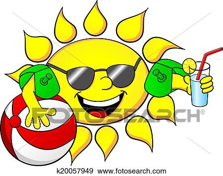 clip art of sun on summer vacation k20057949 search clipart rh fotosearch com summer vacation clip art free summer vacation clip art for kids
