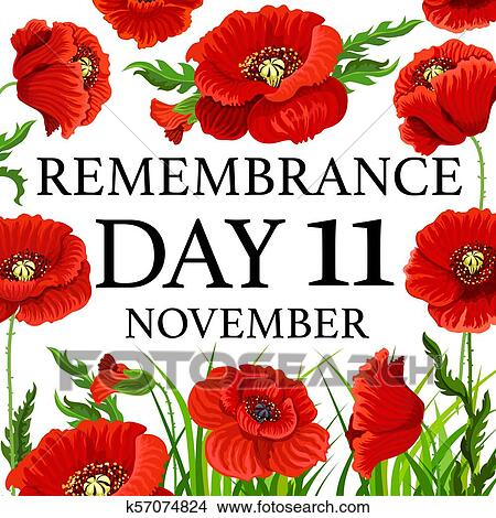 11 November Poppy Remembrance Day Vector Card Clipart K57074824