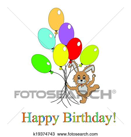 A Funny Rabbit With Many Colorful Balloons Design Birthday Card Vector Art Illustration On White Background