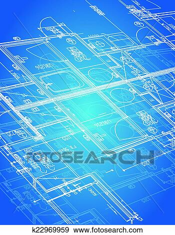 Clip art of blueprint blueprint illustration k22969959 search blueprint blueprint illustration design over a blue background malvernweather Choice Image