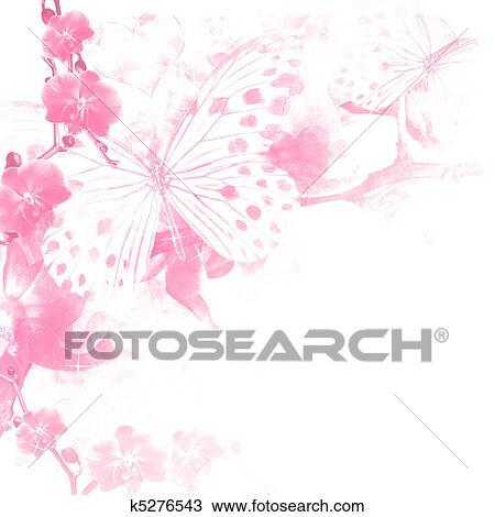 Farfalle E Fiori Sfondo Rosa Disegno K5276543 Fotosearch
