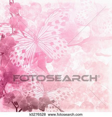 Farfalle E Orchidee Fiori Sfondo Rosa 1 Di Set Archivio