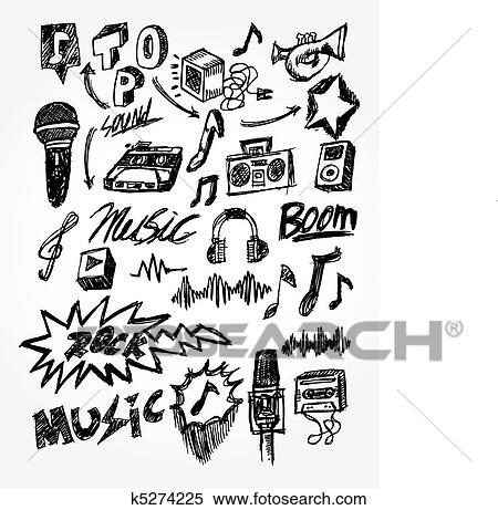 Hand Draw Music Element Clipart K5274225 Fotosearch