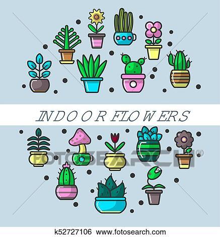 Clipart Interieur Fleurs Et Maison Plante Dans Pots Fleurs