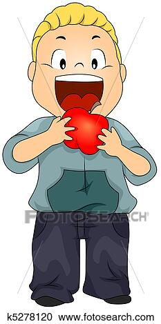 Kid Eating Apple Clipart