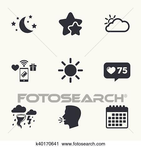Simboli Luna Calendario.Nuvola E Sole Icon Tempesta Simbolo Luna Stelle Clipart