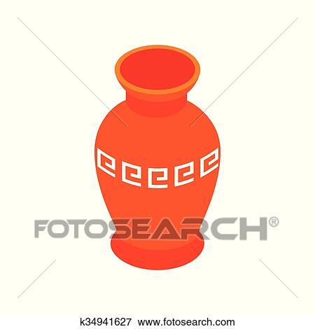 Rosso Antico Vaso Icona Isometrico 3d Stile Clip Art
