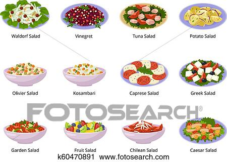 Salad Vector Healthy Food With Fresh Vegetables Tomato Or Potato In Salad Bowl Or Salad Dish For Dinner Or Lunch Illustration Set Of Organic Meal
