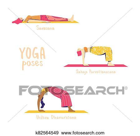 satz von joga poses weiblich charaktere üben yoga