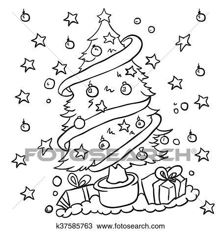 Clipart Schwarz Weiß Weihnachtsbaum K37585763 Suche Clip Art