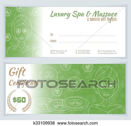 clip art of spa massage gift certificate template k33109938