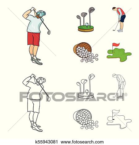 Stand For A Golf Club Muzhchin Playing With A Club Basket With Balls Label With A Flag On The Golf Course Golf Club Set Collection Icons In Cartoon Outline Style Vector Symbol