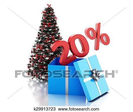 Dibujo 3d caja con 20 porcentaje texto y rbol de navidad