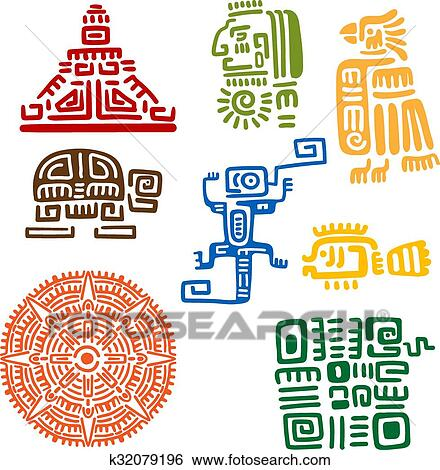 Clip Art Of Ancient Mayan And Aztec Totems Or Signs K32079196